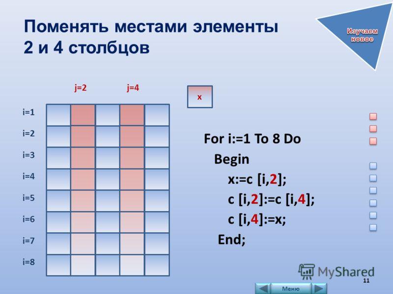 Поменять местами элементы 2 и 4 столбцов For i:=1 To 8 Do Begin x:=c [i,2]; c [i,2]:=c [i,4]; c [i,4]:=x; End; i=1 i=2 i=3 i=4 i=5 i=6 i=7 i=8 x j=2j=4 11 Меню