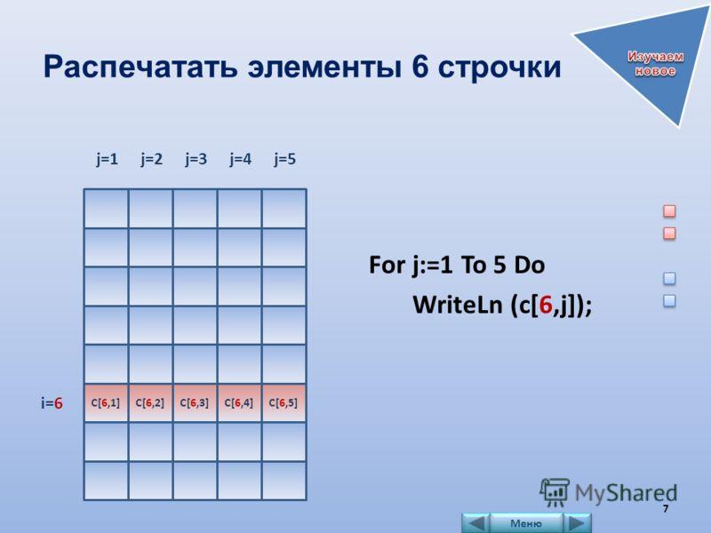 Распечатать элементы 6 строчки For j:=1 To 5 Do WriteLn (c[6,j]); C[6,1] j=1j=2 C[6,2] j=3 C[6,3] j=4 C[6,4] j=5 C[6,5] i=6 7 Меню
