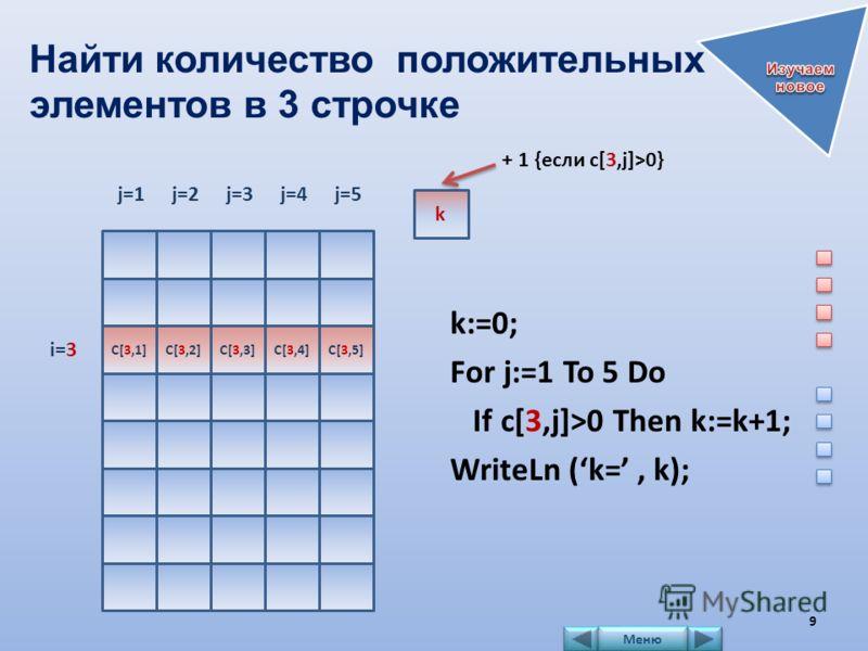 Найти количество положительных элементов в 3 строчке k:=0; For j:=1 To 5 Do If c[3,j]>0 Then k:=k+1; WriteLn (k=, k); j=1j=2j=3j=4j=5 i=3 k C[3,1]C[3,2]C[3,3]C[3,4]C[3,5] + 1 {если c[3,j]>0} 9 Меню
