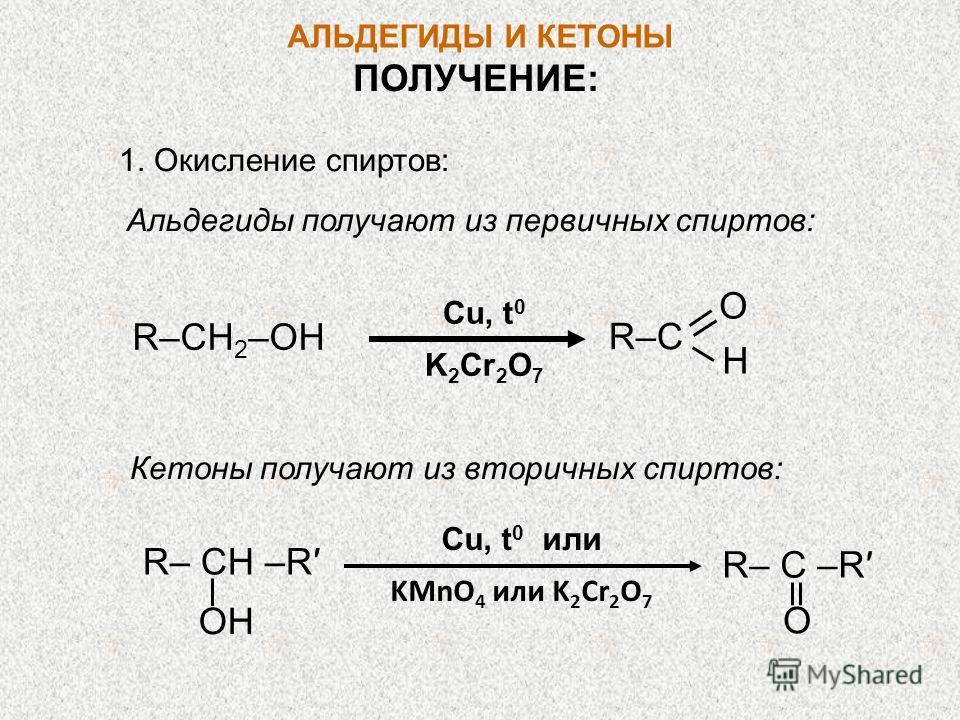 АЛЬДЕГИДЫ И КЕТОНЫ ПОЛУЧЕНИЕ: 1. Окисление спиртов: Альдегиды получают из первичных спиртов: Cu, t 0 K 2 Cr 2 O 7 R–CH 2 –OH O H R–CR–C Кетоны получают из вторичных спиртов: Cu, t 0 или KMnO 4 или K 2 Cr 2 O 7 R– CН –R OH R– C –R O