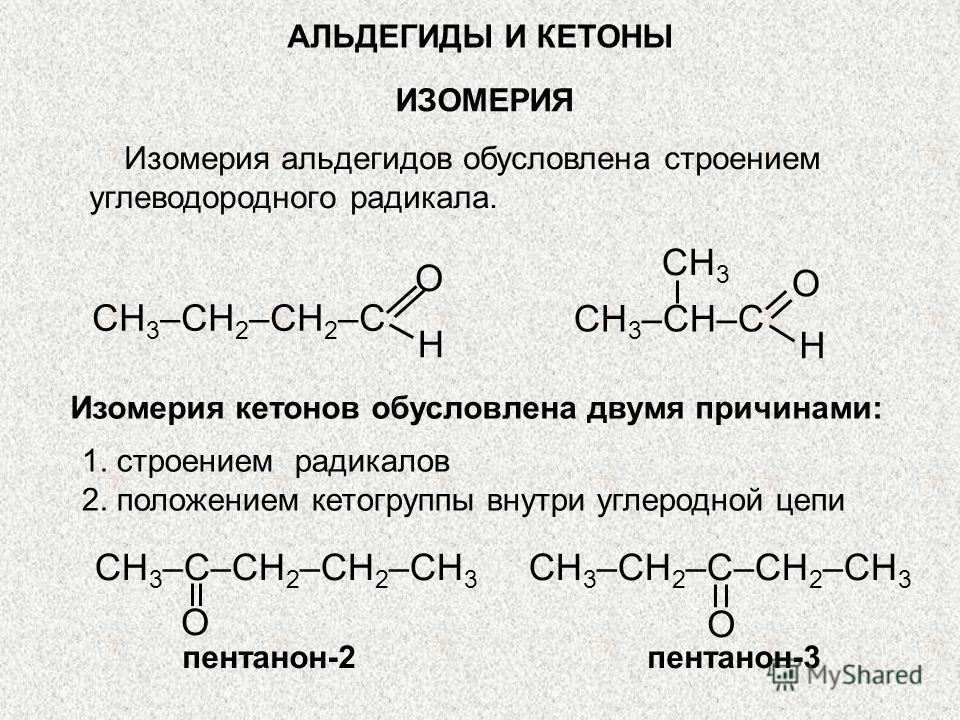 АЛЬДЕГИДЫ И КЕТОНЫ ИЗОМЕРИЯ Изомерия альдегидов обусловлена строением углеводородного радикала. O H CH 3 –CH 2 –CH 2 –C O H CH 3 CH 3 –CH–C Изомерия кетонов обусловлена двумя причинами: CH 3 –C–CH 2 –CH 2 –CH 3 O пентанон-2 CH 3 –CH 2 –C–CH 2 –CH 3 O