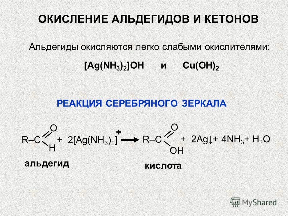 альдегид кислота O H O OH R–C + 2[Ag(NH 3 ) 2 ] + 2Ag+ 4NH 3 + H 2 O РЕАКЦИЯ СЕРЕБРЯНОГО ЗЕРКАЛА ОКИСЛЕНИЕ АЛЬДЕГИДОВ И КЕТОНОВ [Ag(NH 3 ) 2 ]OH и Cu(OH) 2 Альдегиды окисляются легко слабыми окислителями: +