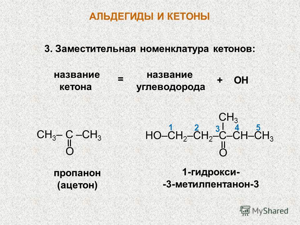 АЛЬДЕГИДЫ И КЕТОНЫ название кетона углеводорода = + ОН CH 3 – C –CH 3 O пропанон (ацетон) 1-гидрокси- -3-метилпентанон-3 HO–CH 2 –CH 2 –C–CН–СH 3 O CH 3 54 3 2 1 3. Заместительная номенклатура кетонов: