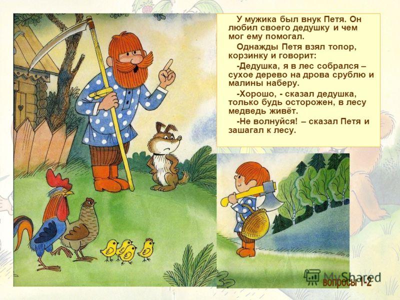 У мужика был внук Петя. Он любил своего дедушку и чем мог ему помогал. Однажды Петя взял топор, корзинку и говорит: -Дедушка, я в лес собрался – сухое дерево на дрова срублю и малины наберу. -Хорошо, - сказал дедушка, только будь осторожен, в лесу ме