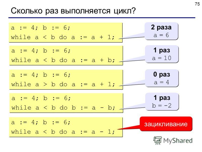 75 Сколько раз выполняется цикл? a := 4; b := 6; while a < b do a := a + 1; a := 4; b := 6; while a < b do a := a + 1; 2 раза a = 6 2 раза a = 6 a := 4; b := 6; while a < b do a := a + b; a := 4; b := 6; while a < b do a := a + b; 1 раз a = 10 1 раз