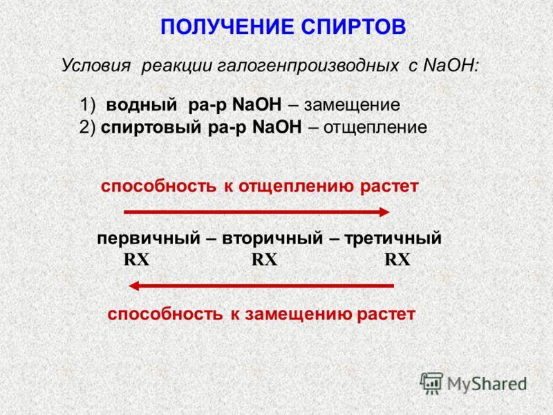 Условия реакции галогенпроизводных с NaOH: 1) водный ра-р NaOH – замещение 2) спиртовый ра-р NaOH – отщепление способность к отщеплению растет первичный – вторичный – третичный RX RX RX способность к замещению растет ПОЛУЧЕНИЕ СПИРТОВ