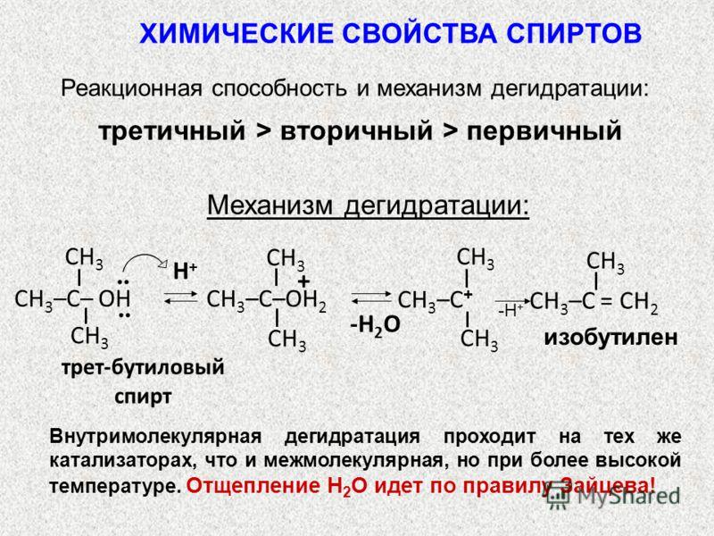Реакционная способность и механизм дегидратации: третичный > вторичный > первичный Механизм дегидратации: трет-бутиловый спирт Н+Н+ -Н 2 О CH 3 CH 3 –C = СН 2 CH 3 CH 3 –C + CH 3 + CH 3 –C–OH 2.. CH 3 CH 3 –C– OH ХИМИЧЕСКИЕ СВОЙСТВА СПИРТОВ -Н + изоб