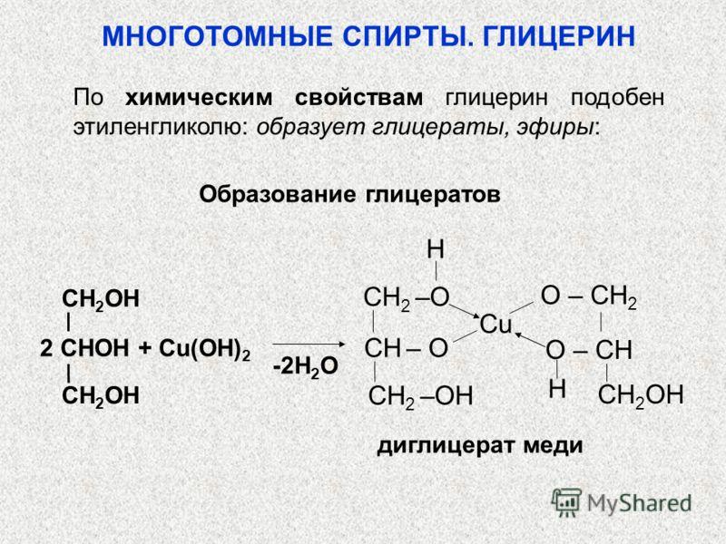Образование глицератов диглицерат меди -2H 2 O 2 CHOH + Cu(OH) 2 CH 2 OH H H O – CH 2 O – CH Cu CH 2 –O CH – O CH 2 –OH МНОГОТОМНЫЕ СПИРТЫ. ГЛИЦЕРИН По химическим свойствам глицерин подобен этиленгликолю: образует глицераты, эфиры: