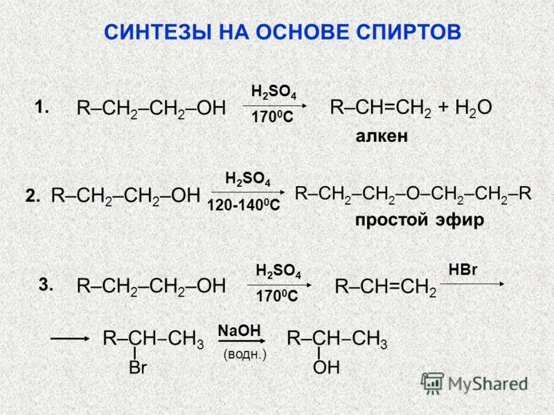 СИНТЕЗЫ НА ОСНОВЕ СПИРТОВ 170 0 C алкен R–CH=CH 2 + H 2 O R–CH 2 –CH 2 –OH 1.1. H 2 SO 4 2.2. 120-140 0 C R–CH 2 –CH 2 –OH R–CH 2 –CH 2 –O–CH 2 –CH 2 –R простой эфир 170 0 C R–CH=CH 2 R–CH 2 –CH 2 –OH 3. H 2 SO 4 (водн.) HBr R–CH CH 3 Br R–CH CH 3 OH
