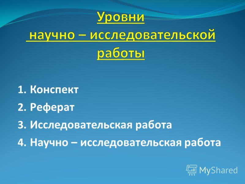 1. Конспект 2. Реферат 3. Исследовательская работа 4. Научно – исследовательская работа