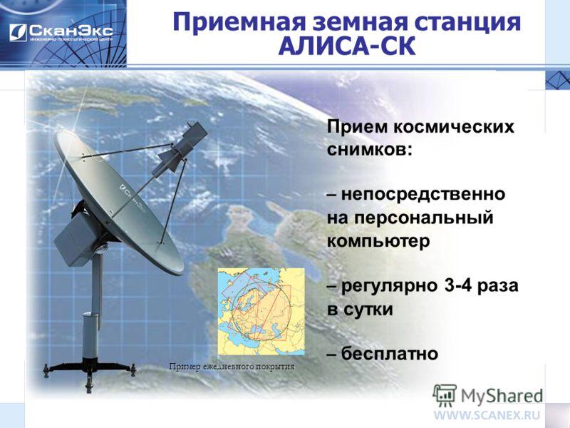 Прием космических снимков: – непосредственно на персональный компьютер – регулярно 3-4 раза в сутки – бесплатно Приемная земная станция АЛИСА-СК Пример ежедневного покрытия
