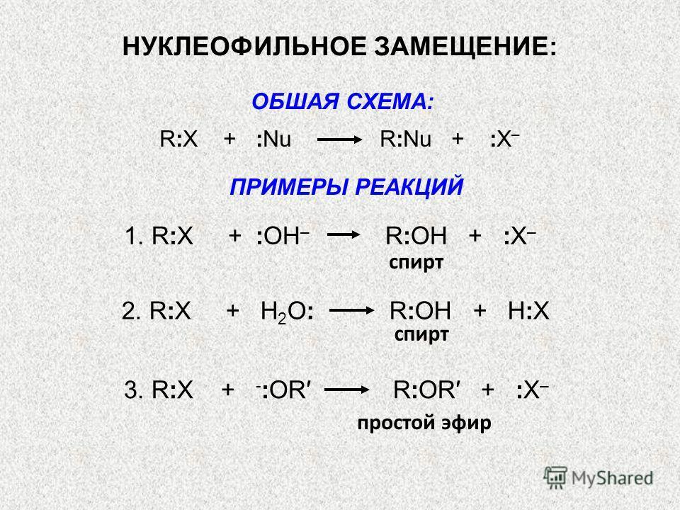 ОБШАЯ СХЕМА: R:X + :Nu R:Nu + :X – 1. R:X + :ОН – R:OH + :X – спирт 2. R:X + Н 2 О: R:OH + H:X спирт 3. R:X + - :OR R:OR + :X – простой эфир НУКЛЕОФИЛЬНОЕ ЗАМЕЩЕНИЕ: ПРИМЕРЫ РЕАКЦИЙ
