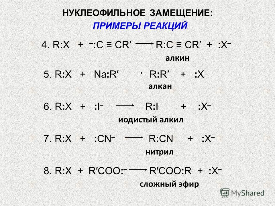 4. R:X + – :С СR R:C CR + :X – алкин 5. R:X + Na:R R:R + :X – алкан 6. R:X + :I – R:I + :X – иодистый алкил 7. R:X + :CN – R:CN + :X – нитрил 8. R:X + RCOO: – RCOO:R + :X – сложный эфир НУКЛЕОФИЛЬНОЕ ЗАМЕЩЕНИЕ: ПРИМЕРЫ РЕАКЦИЙ