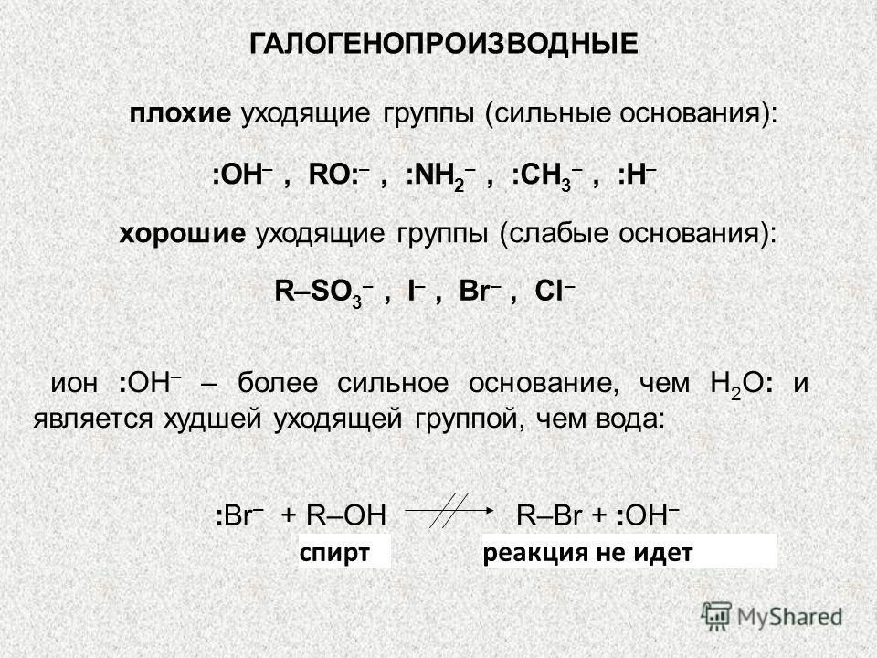 ГАЛОГЕНОПРОИЗВОДНЫЕ плохие уходящие группы (сильные основания): :ОН –, RO: –, :NH 2 –, :CH 3 –, :H – хорошие уходящие группы (слабые основания): R–SO 3 –, I –, Br –, Cl – ион :ОН – – более сильное основание, чем Н 2 О: и является худшей уходящей груп