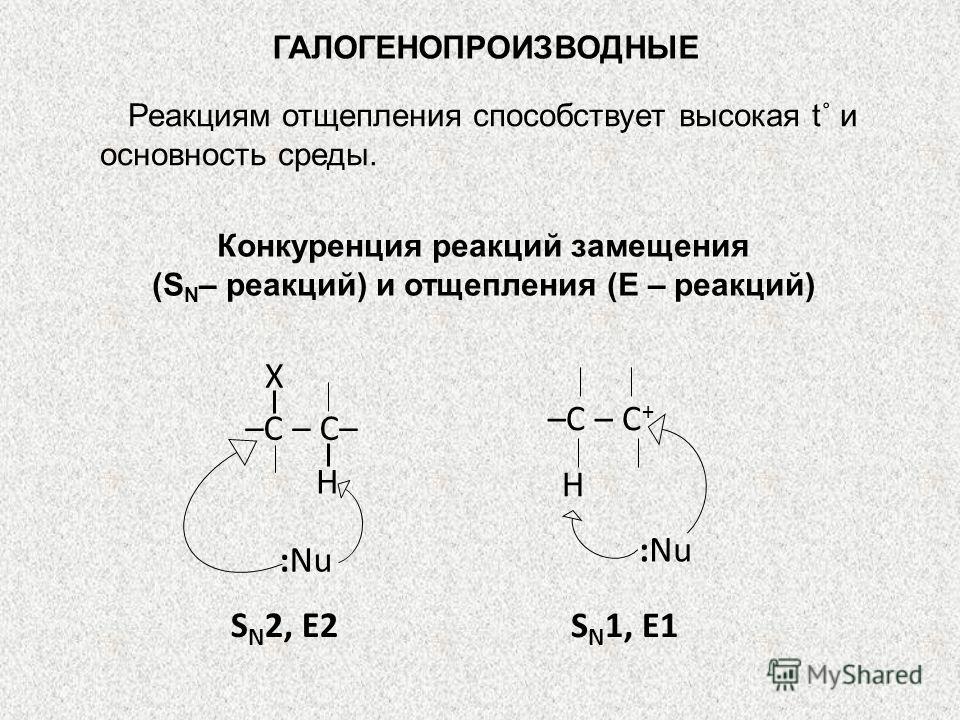 ГАЛОГЕНОПРОИЗВОДНЫЕ Реакциям отщепления способствует высокая t˚ и основность среды. Конкуренция реакций замещения (S N – реакций) и отщепления (Е – реакций) S N 2, Е2 S N 1, Е1 :Nu –С – С + H Х –С – С– :Nu H