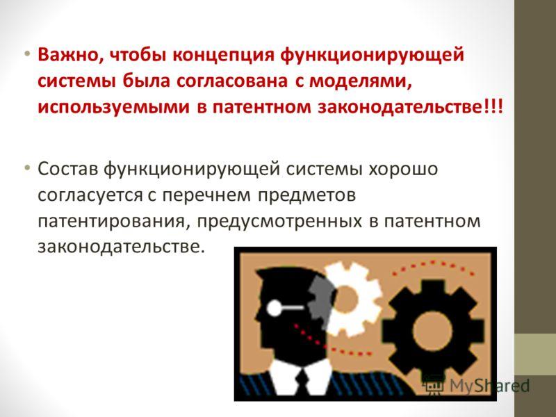Важно, чтобы концепция функционирующей системы была согласована с моделями, используемыми в патентном законодательстве!!! Состав функционирующей системы хорошо согласуется с перечнем предметов патентирования, предусмотренных в патентном законодательс