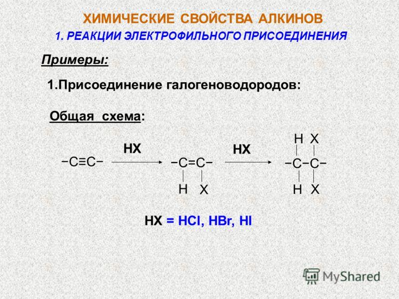 Примеры: 1.Присоединение галогеноводородов: Общая cхема: HX = HCl, HBr, HI HX CC X Н C=C X X Н Н CC 1. РЕАКЦИИ ЭЛЕКТРОФИЛЬНОГО ПРИСОЕДИНЕНИЯ ХИМИЧЕСКИЕ СВОЙСТВА АЛКИНОВ