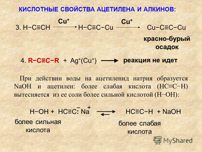 3. HCCH HCCCu CuCCCu Cu + красно-бурый осадок 4. RCCR + Ag + (Cu + ) реакция не идет При действии воды на ацетиленид натрия образуется NaOH и ацетилен: более слабая кислота (HССH) вытесняется из ее соли более сильной кислотой (HOH): HOH + HCC: Na HCC