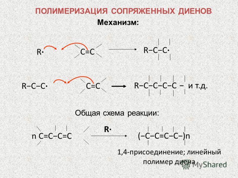 Механизм: RCC R C=CC=C RCCCC и т.д. C=CC=C RCC Общая схема реакции: 1,4-присоединение; линейный полимер диена R (CC=CC)n n C=CC=C ПОЛИМЕРИЗАЦИЯ СОПРЯЖЕННЫХ ДИЕНОВ