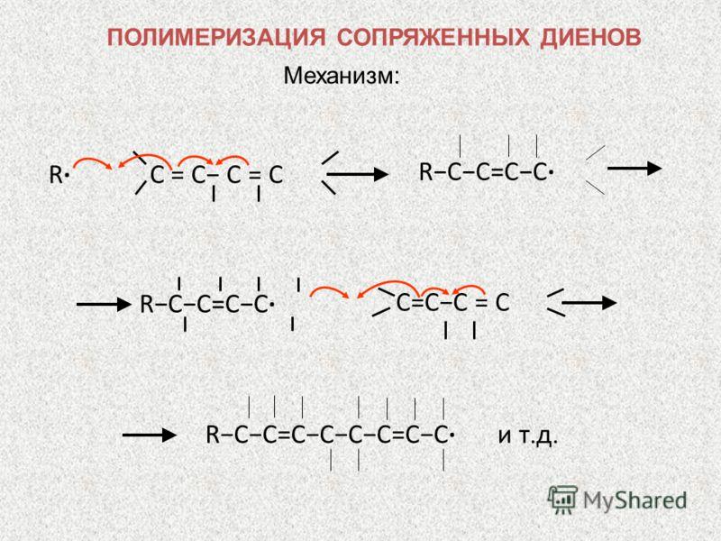 Механизм: RCC=CC RC = C C=CC = C RCC=CC RCC=CCCC=CC и т. д. ПОЛИМЕРИЗАЦИЯ СОПРЯЖЕННЫХ ДИЕНОВ