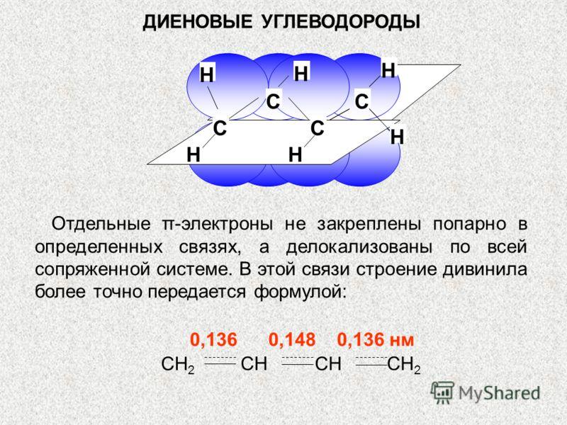 ДИЕНОВЫЕ УГЛЕВОДОРОДЫ СС С Н С Н Н Н Н Н Отдельные π-электроны не закреплены попарно в определенных связях, а делокализованы по всей сопряженной системе. В этой связи строение дивинила более точно передается формулой: 0,136 0,148 0,136 нм CH 2 CH
