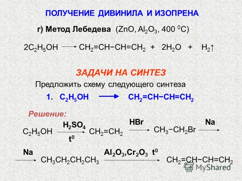 г) Метод Лебедева (ZnO, Al 2 O 3, 400 0 C) СH 2 =CHCH=CH 2 + 2H 2 O + H 2 2C 2 H 5 OH ЗАДАЧИ НА СИНТЕЗ 1. C 2 H 5 OH CH 2 =CHCH=CH 2 H 2 SO 4 HBrNa t0t0 CH 3 CH 2 Br CH 2 =CH 2 C 2 H 5 OH Al 2 O 3,Cr 2 O 3 t 0 Na CH 3 CH 2 CH 2 CH 3 CH 2 =CHCH=CH 2 П