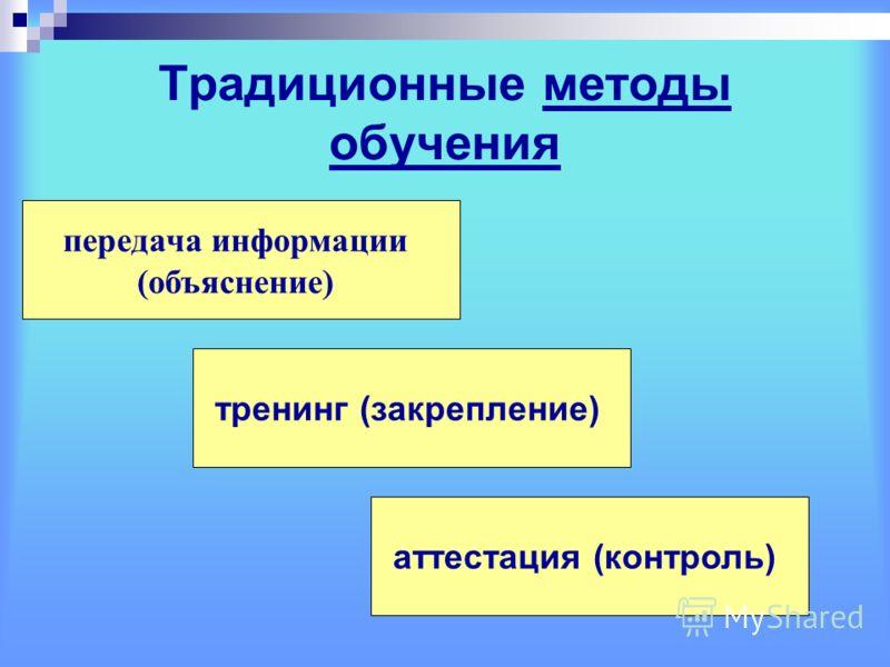 Традиционные методы обучения передача информации (объяснение) тренинг (закрепление) аттестация (контроль)