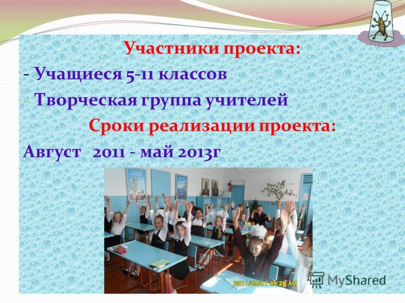 Участники проекта: - Учащиеся 5-11 классов - Творческая группа учителей Сроки реализации проекта: Август 2011 - май 2013г