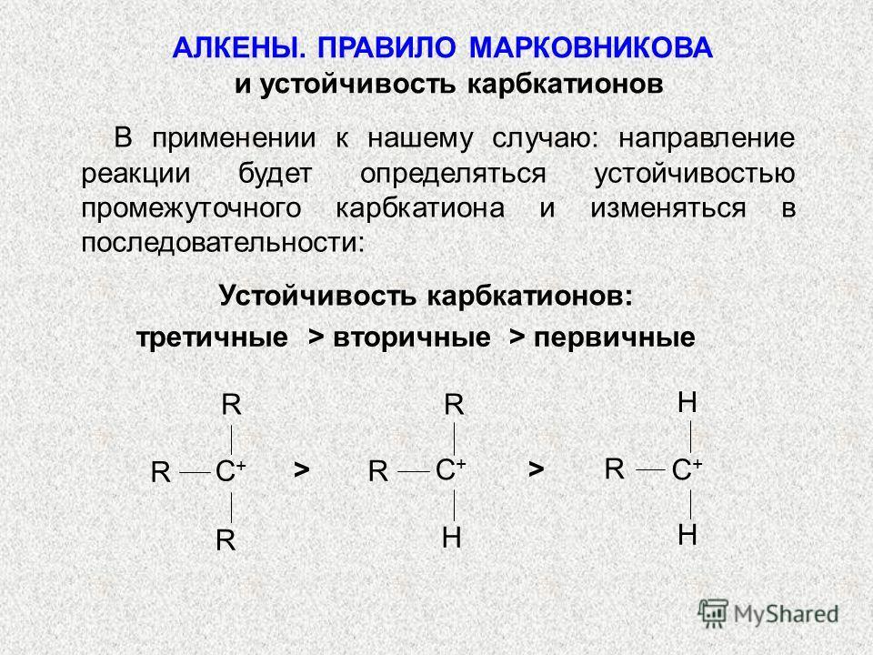 В применении к нашему случаю: направление реакции будет определяться устойчивостью промежуточного карбкатиона и изменяться в последовательности: третичные > вторичные > первичные Устойчивость карбкатионов: > > R R R C+C+ R H R C+C+ H H R C+C+ АЛКЕНЫ.