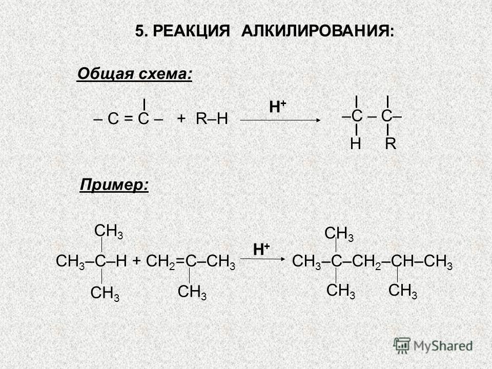5. РЕАКЦИЯ АЛКИЛИРОВАНИЯ: Общая схема: H+H+ – С = С – + R–Н HR –С – С– СН 3 CH 3 –C–H + CH 2 =C–CH 3 H+H+ CH 3 –C–CH 2 –CH–CH 3 Пример: