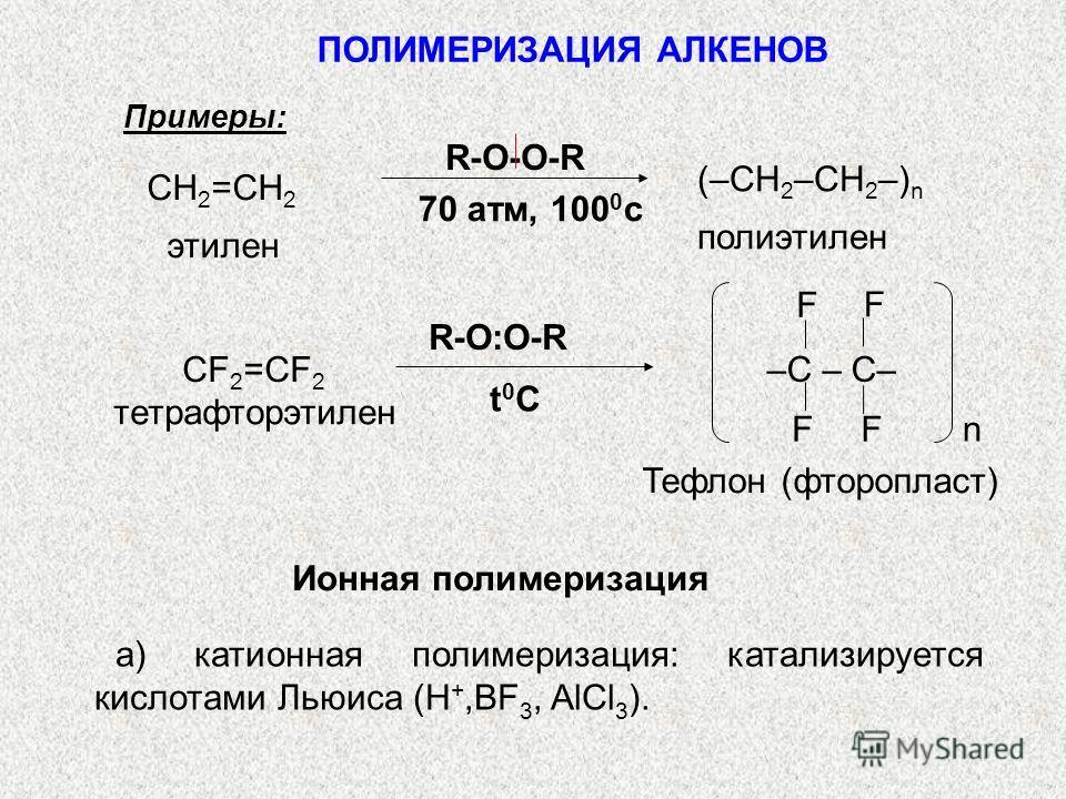 Примеры: (–СН 2 –СН 2 –) n полиэтилен 70 атм, 100 0 с R-O-O-R СН 2 =СН 2 этилен тетрафторэтилен R-O:O-R t0Ct0C Тефлон (фторопласт) F F FF n –C – C– СF 2 =CF 2 Ионная полимеризация а) катионная полимеризация: катализируется кислотами Льюиса (Н +,ВF 3,