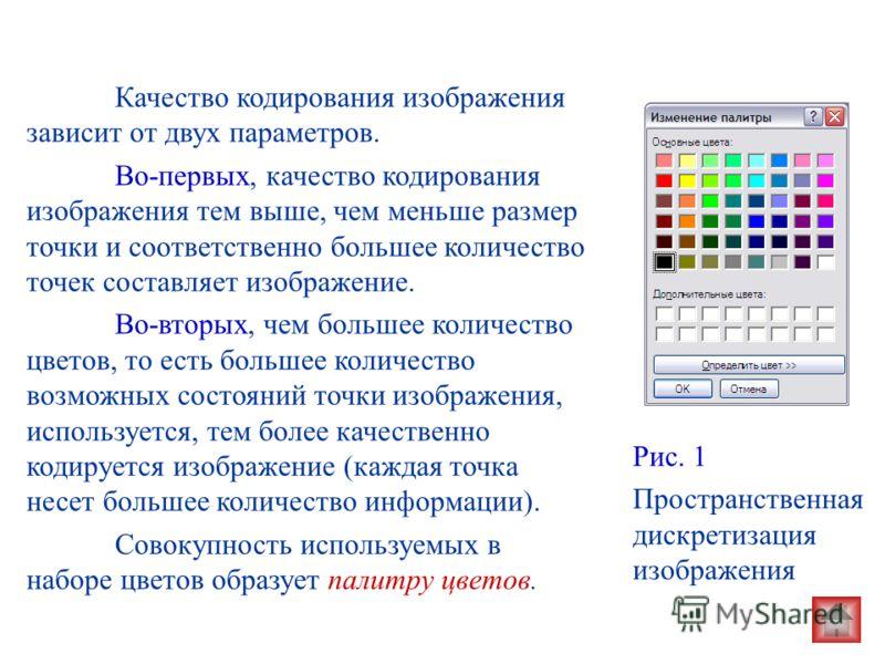 Рис. 1 Пространственная дискретизация изображения Качество кодирования изображения зависит от двух параметров. Во-первых, качество кодирования изображения тем выше, чем меньше размер точки и соответственно большее количество точек составляет изображе