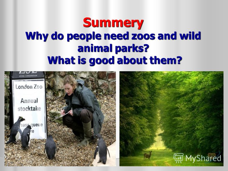 Summery Why do people need zoos and wild animal parks? What is good about them?