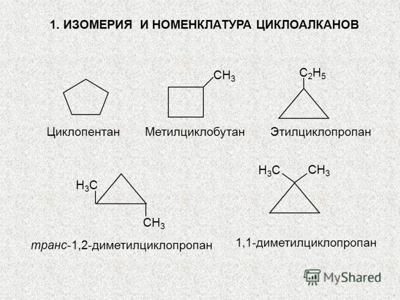 1. ИЗОМЕРИЯ И НОМЕНКЛАТУРА ЦИКЛОАЛКАНОВ СH3СH3 С2H5С2H5 Циклопентан Метилциклобутан Этилциклопропан СH3СH3 H3СH3С H3СH3С СH3СH3 транс-1,2-диметилциклопропан 1,1-диметилциклопропан