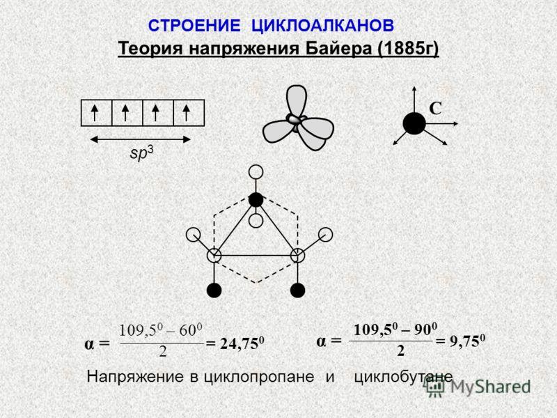 СТРОЕНИЕ ЦИКЛОАЛКАНОВ Теория напряжения Байера (1885г) sp 3 C 109,5 0 – 60 0 2 α = = 24,75 0 α = 109,5 0 – 90 0 2 = 9,75 0 Напряжение в циклопропане и циклобутане