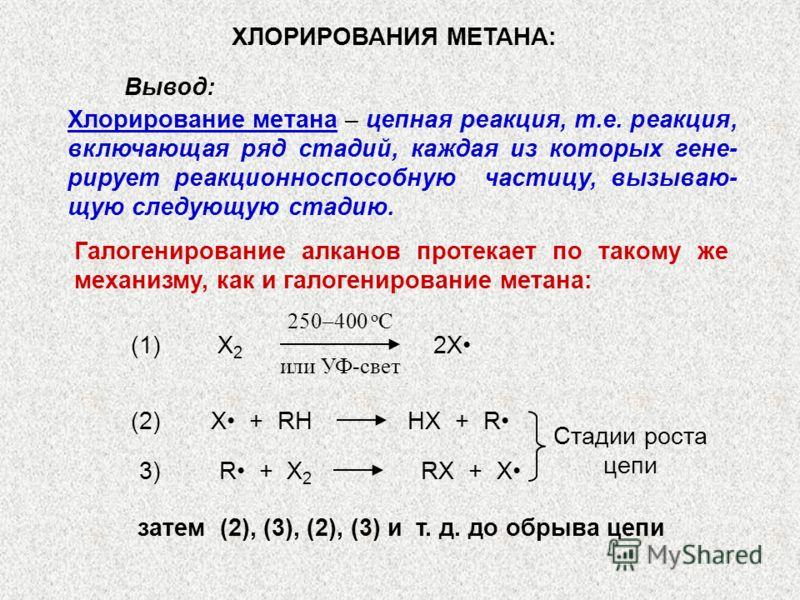 Хлорирование метана – цепная реакция, т.е. реакция, включающая ряд стадий, каждая из которых гене- рирует реакционноспособную частицу, вызываю- щую следующую стадию. ХЛОРИРОВАНИЯ МЕТАНА: Вывод: Галогенирование алканов протекает по такому же механизму