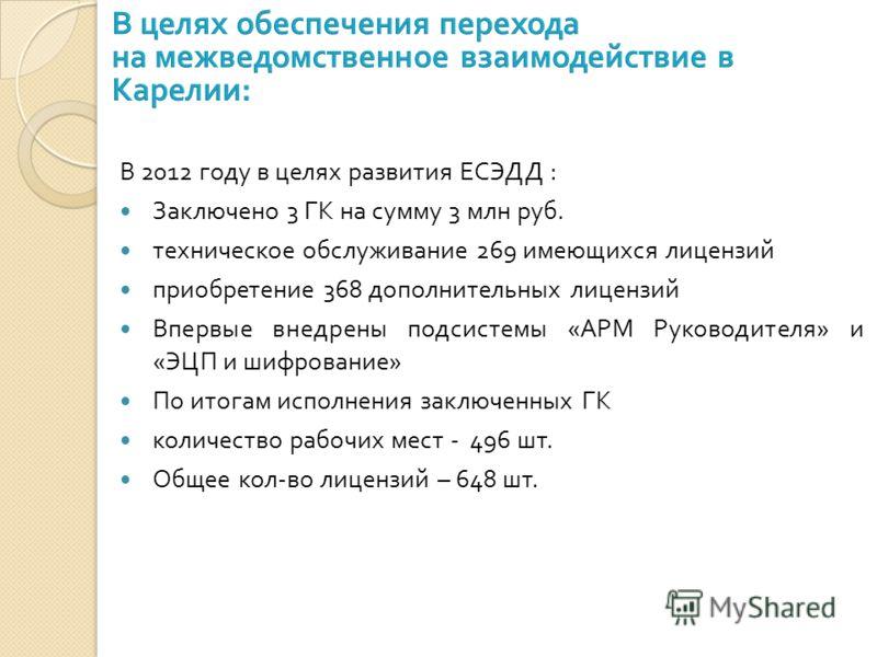 В 2012 году в целях развития ЕСЭДД : Заключено 3 ГК на сумму 3 млн руб. техническое обслуживание 269 имеющихся лицензий приобретение 368 дополнительных лицензий Впервые внедрены подсистемы « АРМ Руководителя » и « ЭЦП и шифрование » По итогам исполне