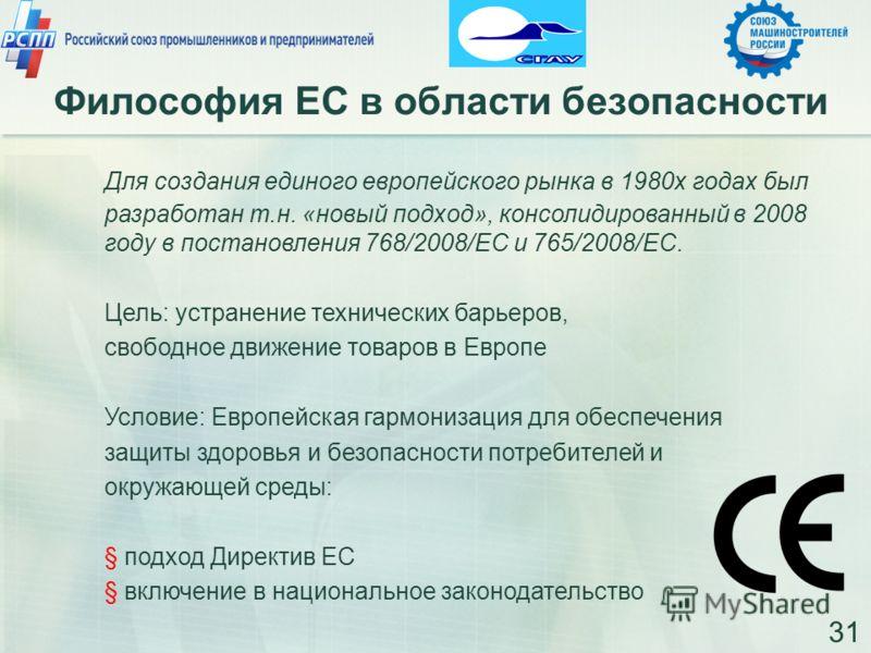 Философия ЕС в области безопасности 31 Для создания единого европейского рынка в 1980х годах был разработан т.н. «новый подход», консолидированный в 2008 году в постановления 768/2008/EC и 765/2008/EC. Цель: устранение технических барьеров, свободное