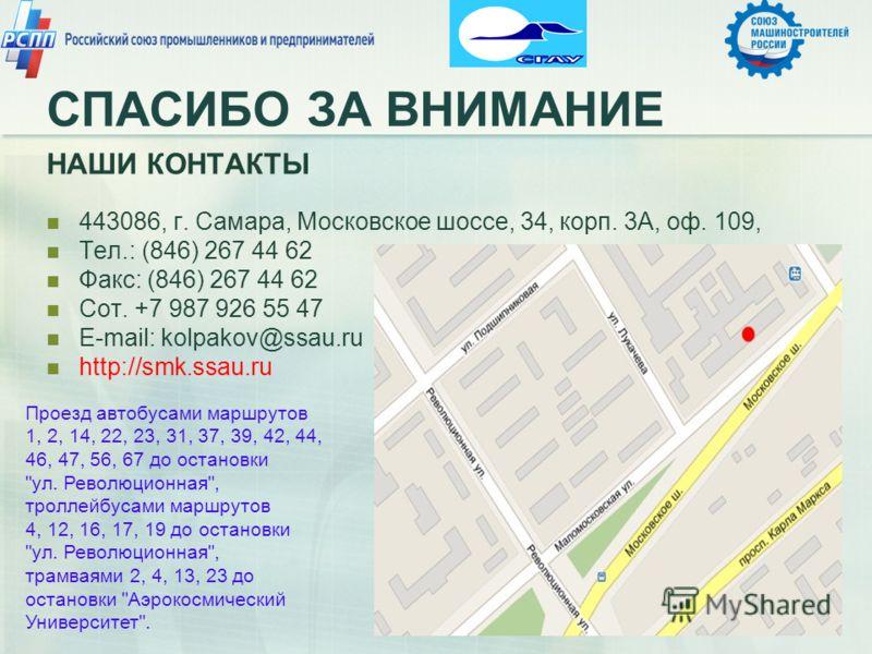 СПАСИБО ЗА ВНИМАНИЕ НАШИ КОНТАКТЫ 443086, г. Самара, Московское шоссе, 34, корп. 3А, оф. 109, Тел.: (846) 267 44 62 Факс: (846) 267 44 62 Сот. +7 987 926 55 47 E-mail: kolpakov@ssau.ru http://smk.ssau.ru Проезд автобусами маршрутов 1, 2, 14, 22, 23,