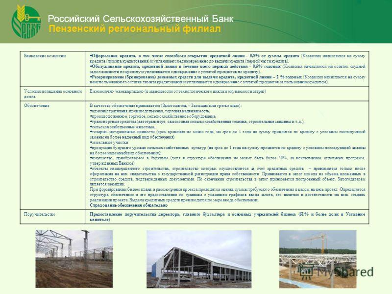 Российский Сельскохозяйственный Банк Пензенский региональный филиал Банковские комиссии Оформление кредита, в том числе способами открытия кредитной линии - 0,8% от суммы кредита (Комиссия начисляется на сумму кредита (лимита кредитования) и уплачива