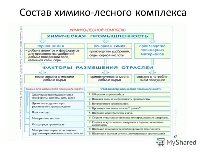 Состав химико-лесного комплекса