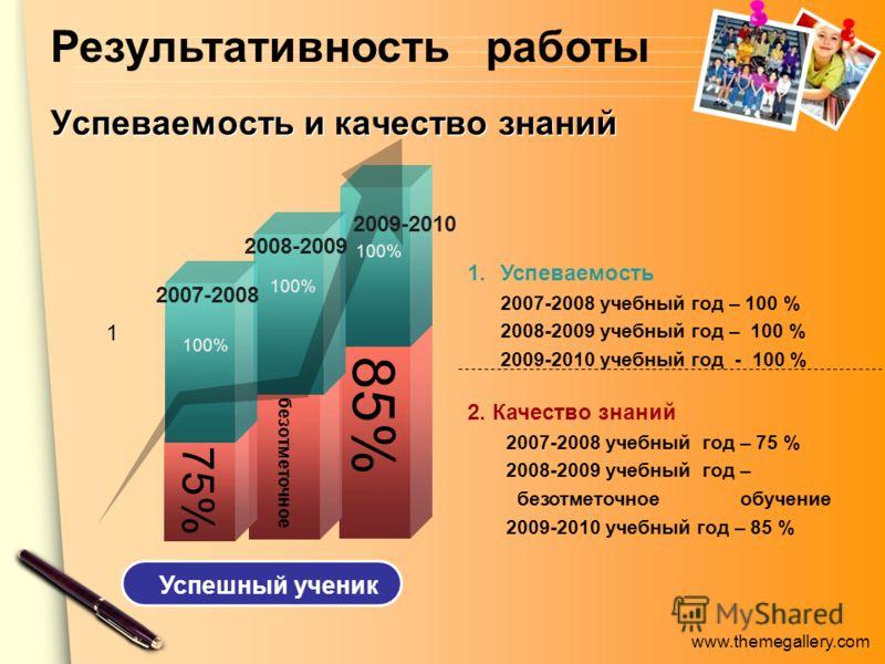 www.themegallery.com Успеваемость и качество знаний 2. Качество знаний 2007-2008 учебный год – 75 % 2008-2009 учебный год – безотметочное обучение 2009-2010 учебный год – 85 % 1.Успеваемость 2007-2008 учебный год – 100 % 2008-2009 учебный год – 100 %
