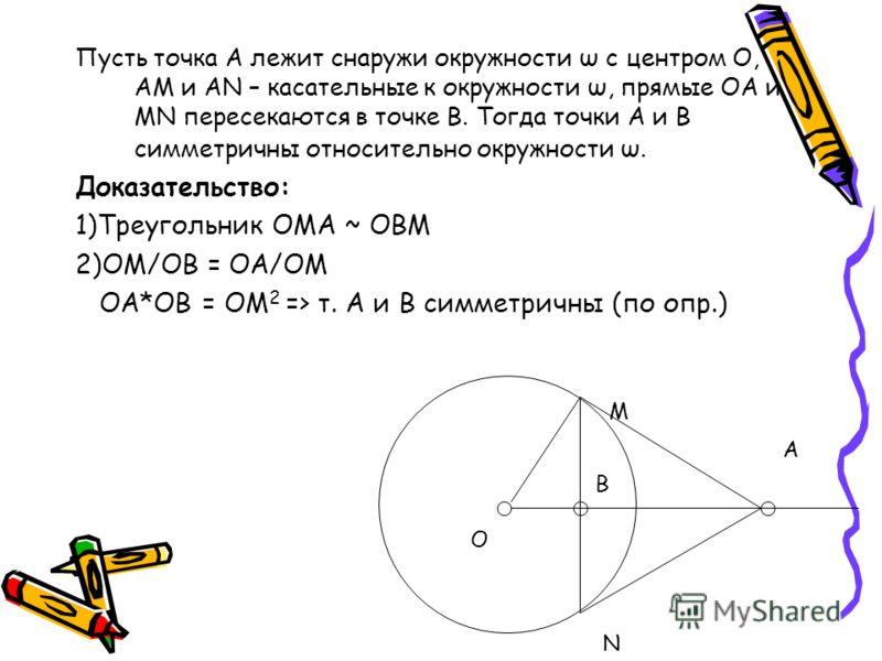 Пусть точка А лежит снаружи окружности ω с центром О, АМ и АN – касательные к окружности ω, прямые ОА и MN пересекаются в точке В. Тогда точки А и В симметричны относительно окружности ω. Доказательство: 1)Треугольник OMA ~ OBM 2)OM/OB = OA/OM OA*OB