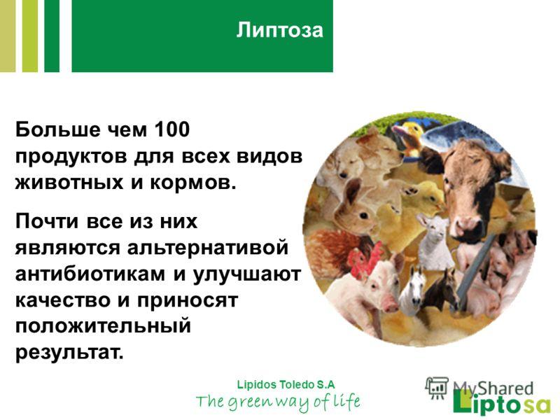 Больше чем 100 продуктов для всех видов животных и кормов. Почти все из них являются альтернативой антибиотикам и улучшают качество и приносят положительный результат. Lipidos Toledo S.A The green way of life Липтоза