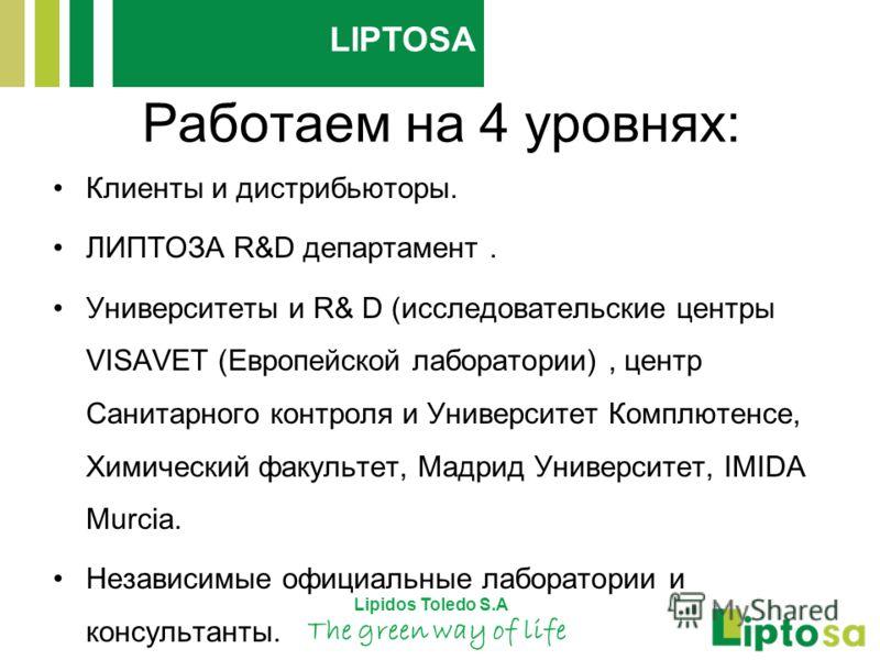 Работаем на 4 уровнях: Клиенты и дистрибьюторы. ЛИПТОЗА R&D департамент. Университеты и R& D (исследовательские центры VISAVET (Европейской лаборатории), центр Санитарного контроля и Университет Комплютенсе, Химический факультет, Мадрид Университет,