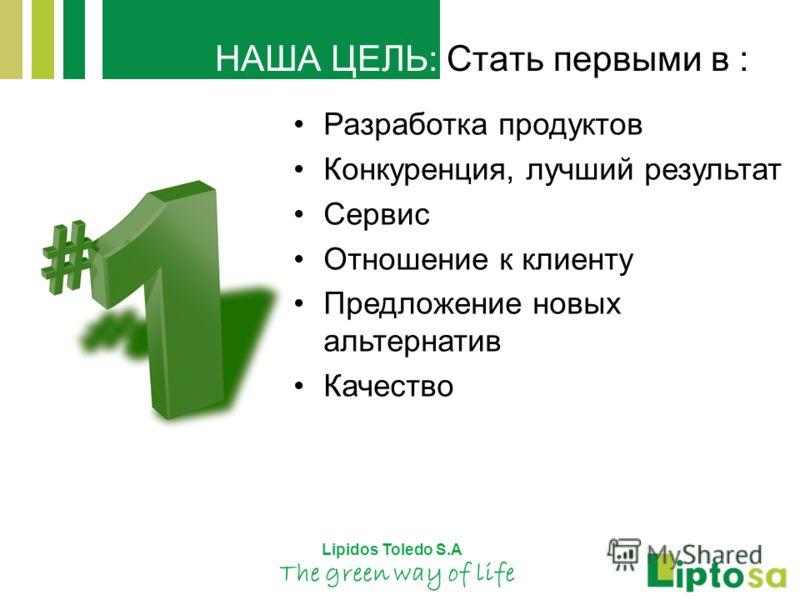 Lipidos Toledo S.A The green way of life НАША ЦЕЛЬ: Стать первыми в : Разработка продуктов Конкуренция, лучший результат Сервис Отношение к клиенту Предложение новых альтернатив Качество