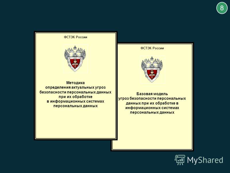 ФСТЭК России Базовая модель угроз безопасности персональных данных при их обработке в информационных системах персональных данных 8 ФСТЭК России Методика определения актуальных угроз безопасности персональных данных при их обработке в информационных