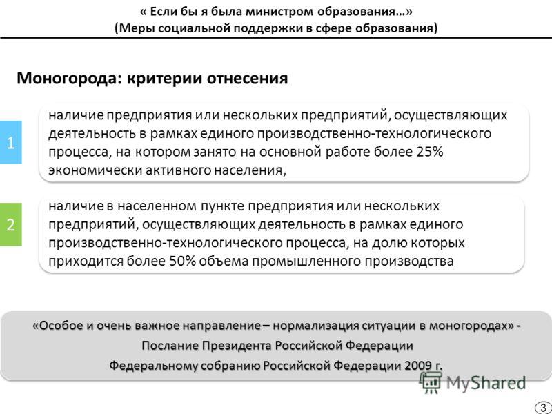 « Если бы я была министром образования…» (Меры социальной поддержки в сфере образования) Моногорода: критерии отнесения «Особое и очень важное направление – нормализация ситуации в моногородах» - Послание Президента Российской Федерации Послание През