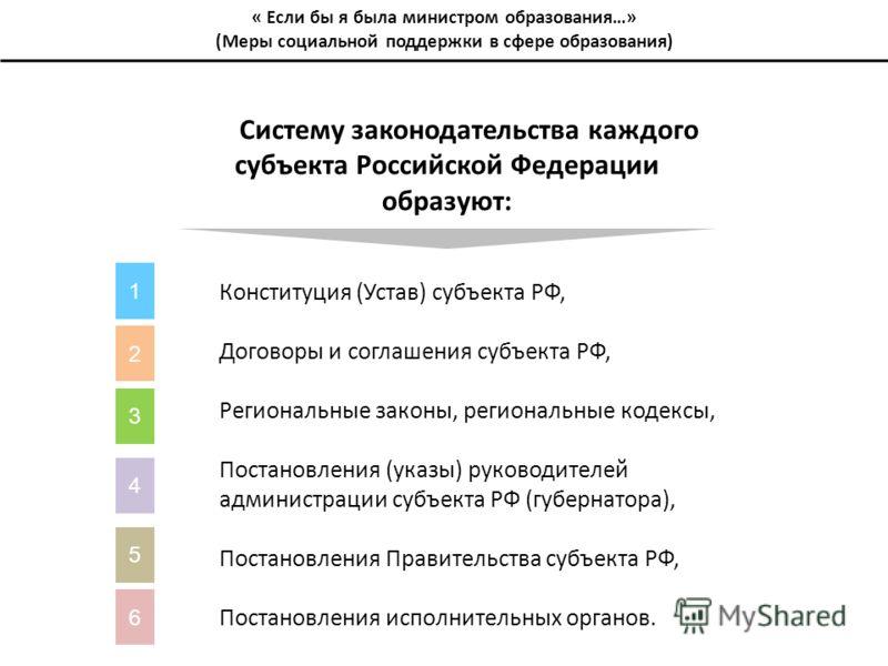 Систему законодательства каждого субъекта Российской Федерации образуют: Конституция (Устав) субъекта РФ, Договоры и соглашения субъекта РФ, Региональные законы, региональные кодексы, Постановления (указы) руководителей администрации субъекта РФ (губ