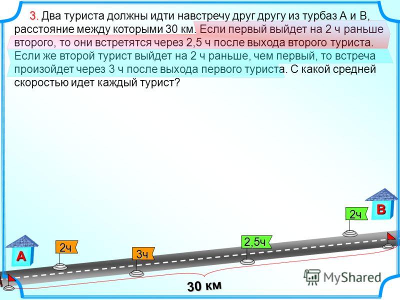 2ч 2ч 3. 3. Два туриста должны идти навстречу друг другу из турбаз А и В, расстояние между которыми 30 км. Если первый выйдет на 2 ч раньше второго, то они встретятся через 2,5 ч после выхода второго туриста. Если же второй турист выйдет на 2 ч раньш